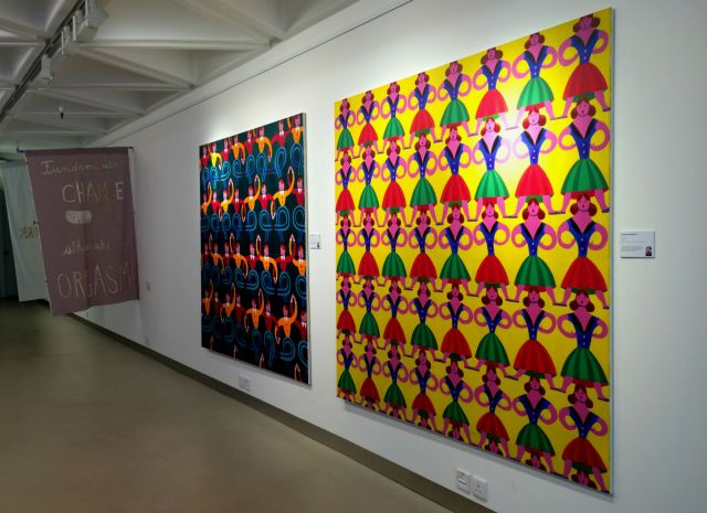 Paintings by Christoph Ruckhäberle; Artworks made of cloth in the background by Florian Meisenberg . Photos: Daniel Suen (first Picture) and Claire Li Yingxue.